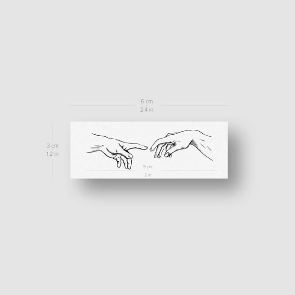 Minimalist Creation of Adam Temporary Tattoo - Set of 3