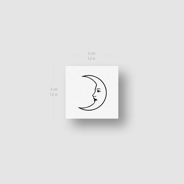 Crescent Moon Face Temporary Tattoo (Set of 3)