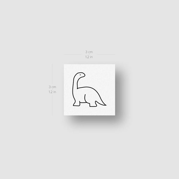 Minimalist Diplodocus Temporary Tattoo - Set of 3