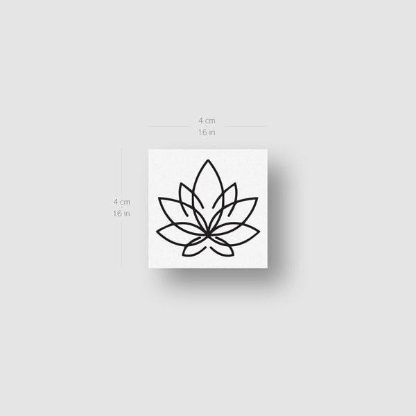 Line Lotus Flower Temporary Tattoo - Set of 3