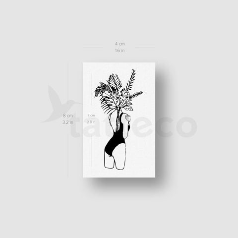Flower Head Woman Temporary Tattoo - Set of 3