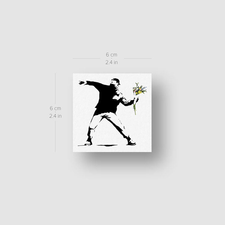 Banksy's Flower Thrower Temporary Tattoo - Set of 3