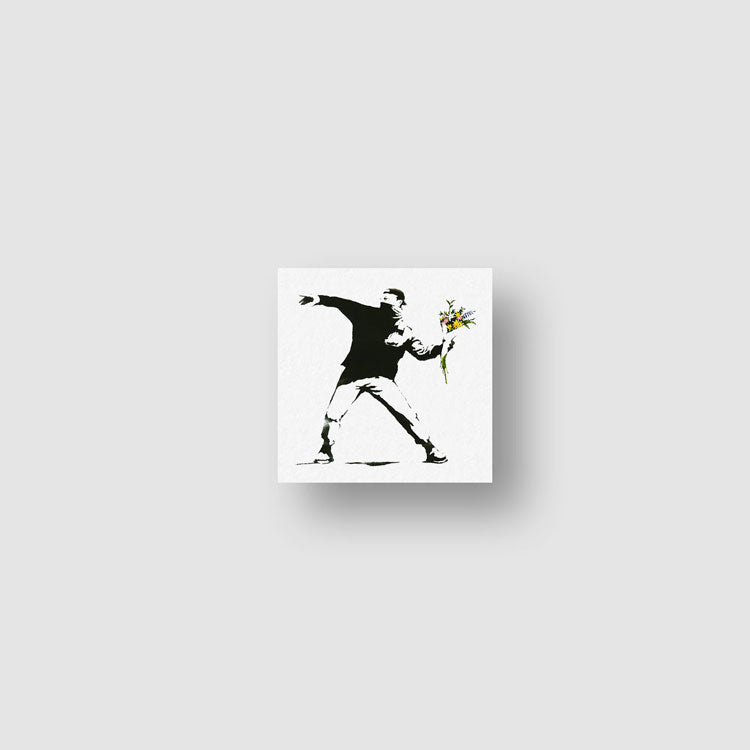 Small Banksy's Flower Thrower Temporary Tattoo - Set of 3