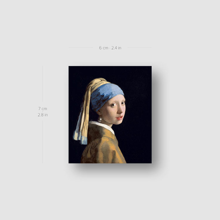 Johannes Vermer's Girl with a Pearl Earring Temporary Tattoo - Set of 3