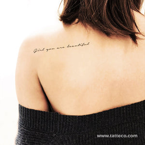 Girl You Are Beautiful Temporary Tattoo - Set of 3