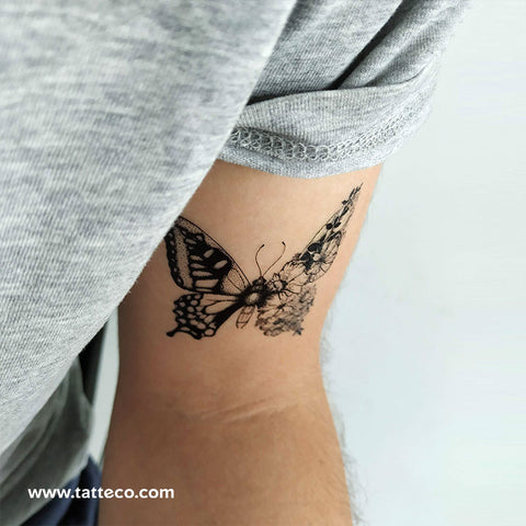 Half Butterfly Half Flower Temporary Tattoo - Set of 3