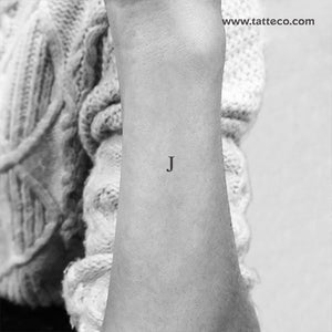 J Serif Capital Letter Temporary Tattoo (Set of 3)