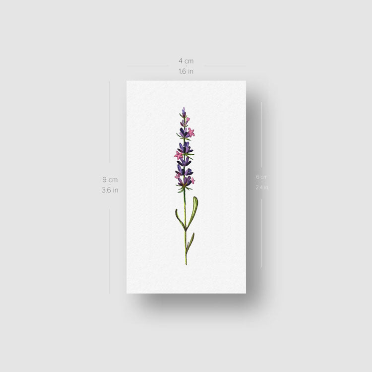 Watercolor Lavender Temporary Tattoo - Set of 3