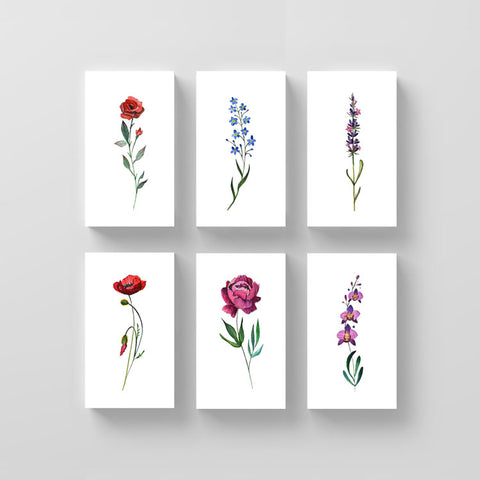 Watercolor Flower Temporary Tattoo Set One by Lena Fedchenko