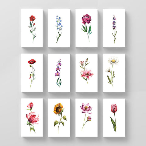 Watercolor Flower Temporary Tattoo Set by Lena Fedchenko