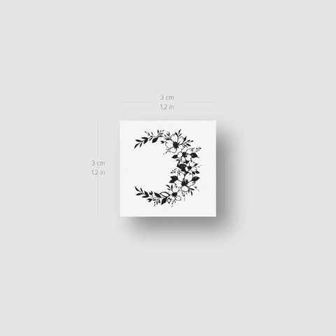 Small Flower Crescent Temporary Tattoo - Set of 3