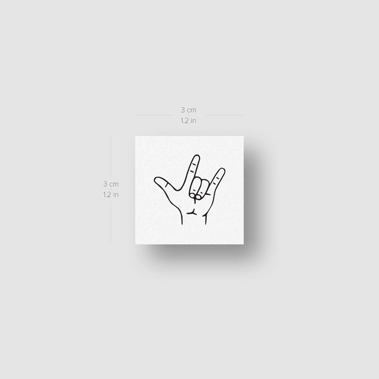 I Love You Sign Language Gesture Temporary Tattoo - Set of 3