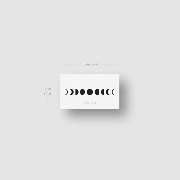 Small Moon Phases Temporary Tattoo - Set of 3
