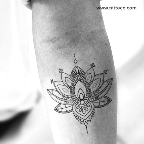 Sacred Lotus Flower Temporary Tattoo - Set of 3