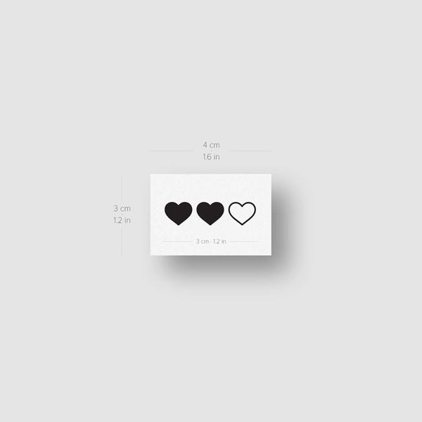 Matching Hearts Temporary Tattoo - Set of 3x2