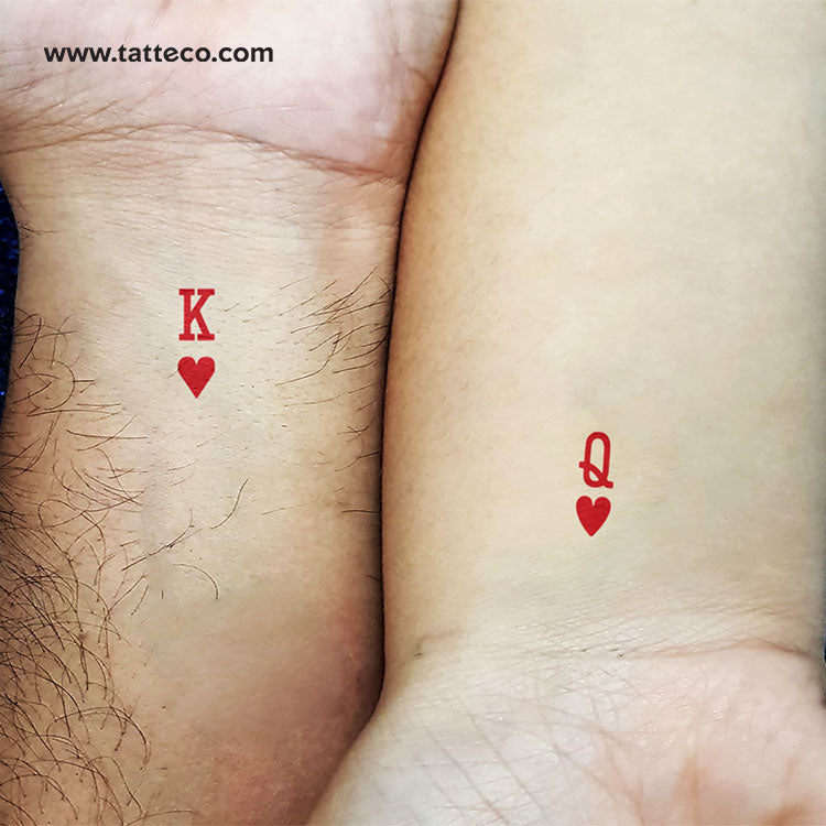 Matching Queen and King of Hearts Temporary Tattoo - Set of 2+2