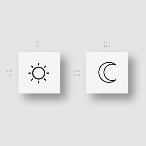 Matching Sun And Moon Temporary Tattoo - Set of 2+2