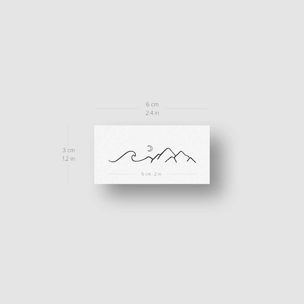 Mountain and Wave Temporary Tattoo - Set of 3