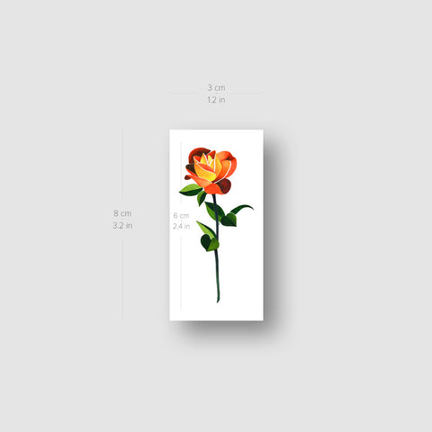 Orange Rose Temporary Tattoo by Zihee - Set of 3