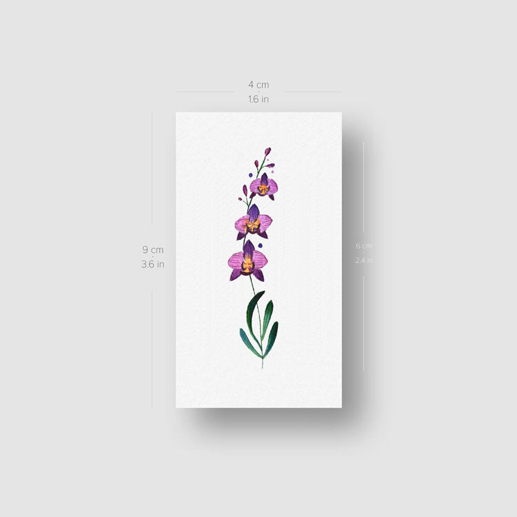 Orchid Temporary Tattoo - Set of 3