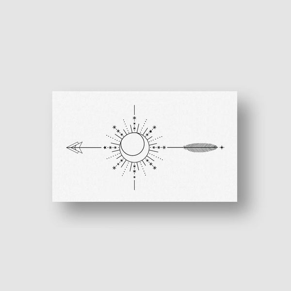 Ornamental Arrow Compass Temporary Tattoo - Set of 3