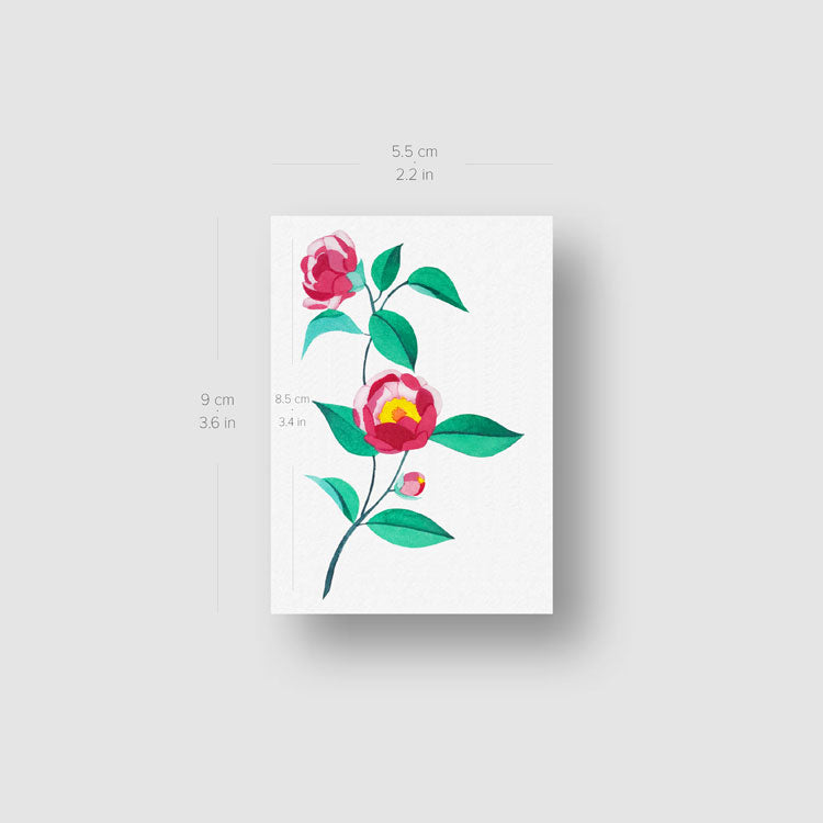 Pink Peony Temporary Tattoo by Zihee - Set of 3
