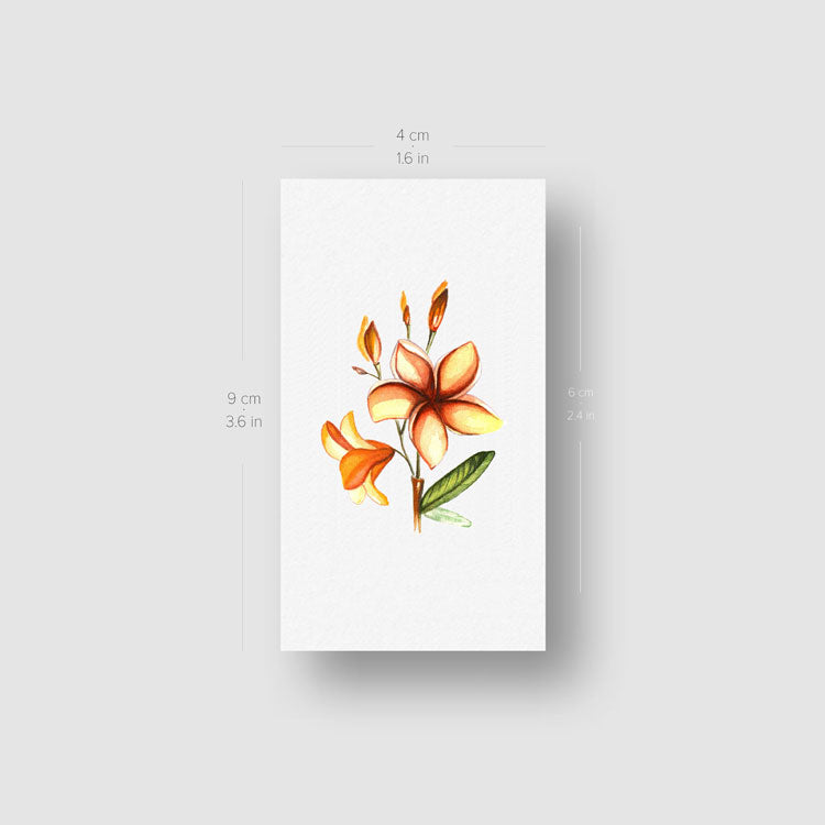 Watercolor Plumeria Temporary Tattoo - Set of 3