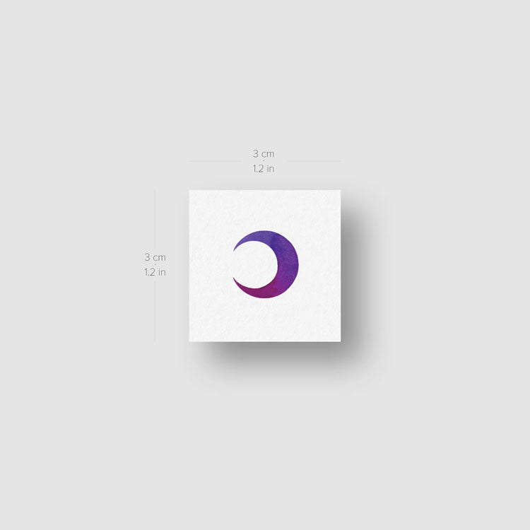 Purple Crescent Moon Temporary Tattoo - Set of 3