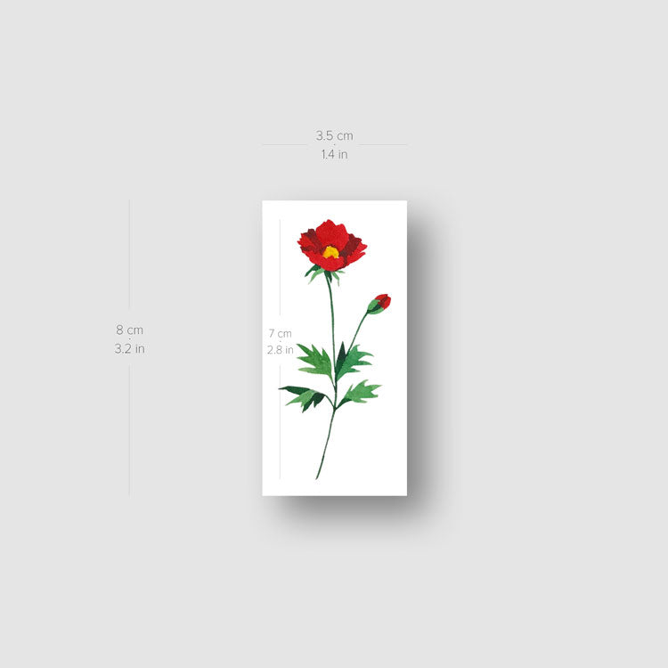 Red Chrysanthemum Temporary Tattoo by Zihee - Set of 3