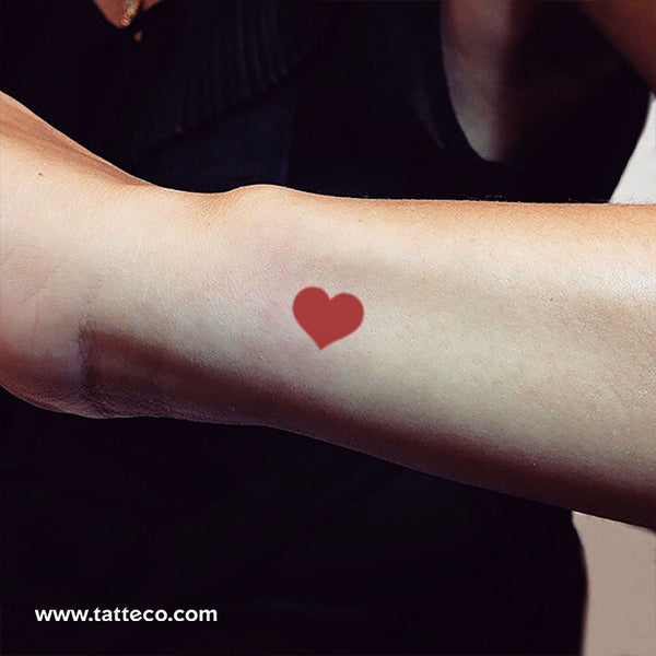 Red Heart Temporary Tattoo - Set of 3