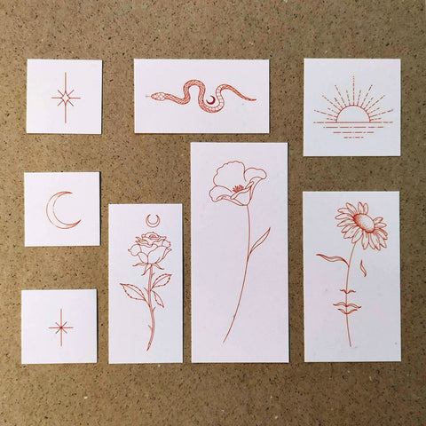 Red Ink Collection Temporary Tattoo Set by Jakenowicz