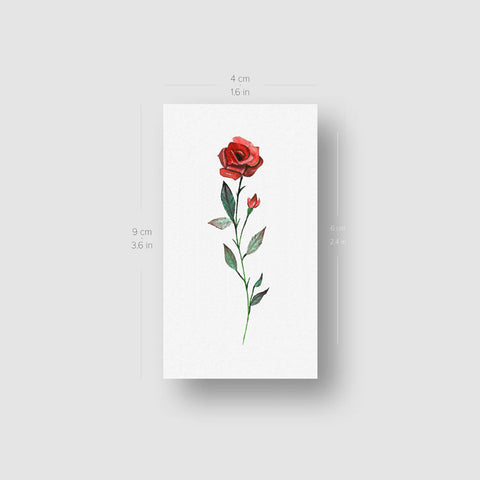 Watercolor Red Rose Temporary Tattoo - Set of 3
