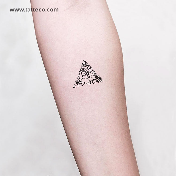 Rose Triangle Temporary Tattoo - Set of 3