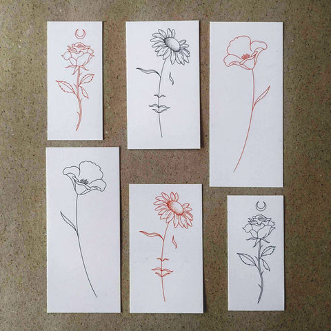 Flower Collection by Jakenowicz Temporary Tattoo Set