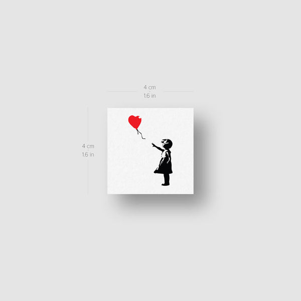 Small Banksy's Balloon Girl Temporary Tattoo - Set of 3