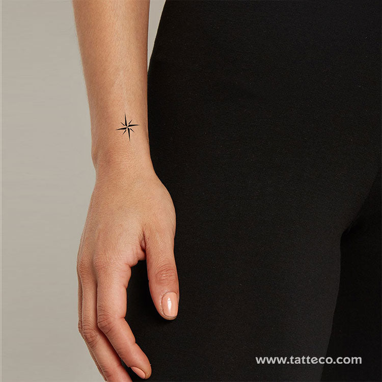 Small Minimalist Compass Rose Temporary Tattoo (Set of 3)