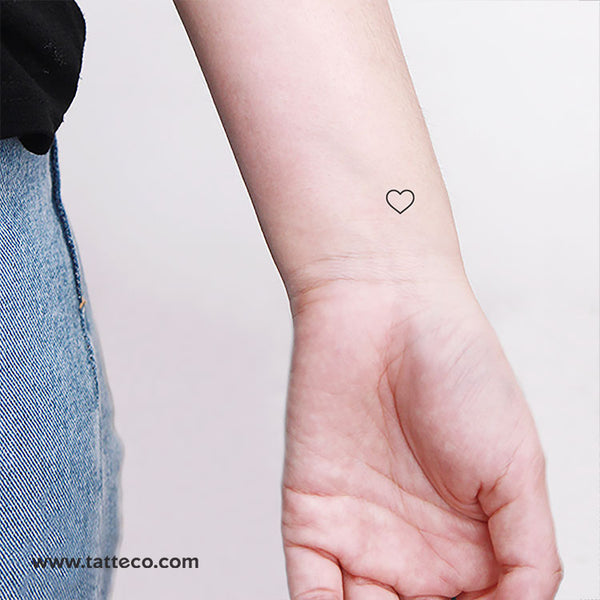 Small Minimalist Heart Outline Temporary Tattoo (Set of 3)