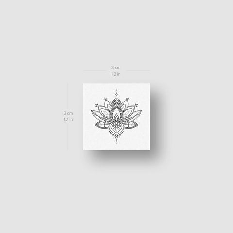 Small Sacred Lotus Flower Temporary Tattoo - Set of 3
