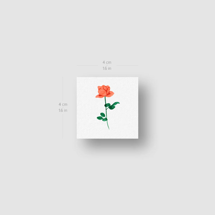 Small Orange Rose Temporary Tattoo by Zihee - Set of 3
