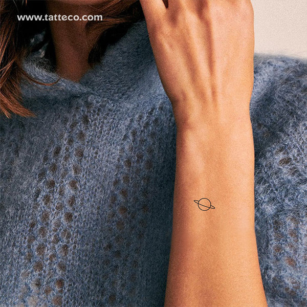 Minimalist Saturn Temporary Tattoo - Set of 3