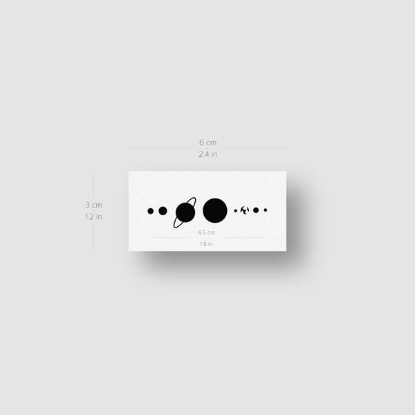 Minimalist Solar System Temporary Tattoo - Set of 3