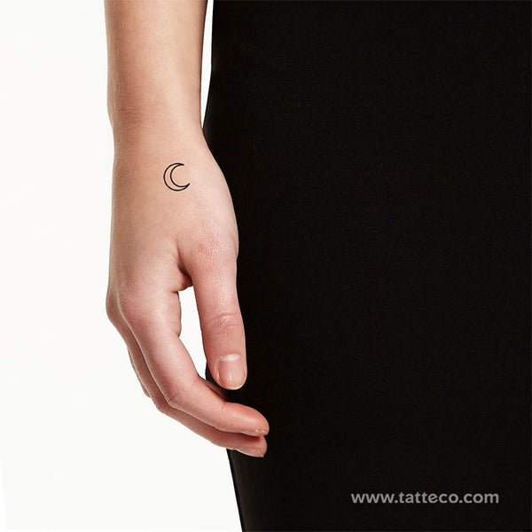 Crescent Moon Outline Temporary Tattoo - Set of 3