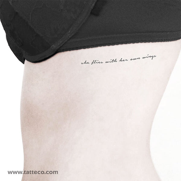 She Flies With Her Own Wings Temporary Tattoo - Set of 3