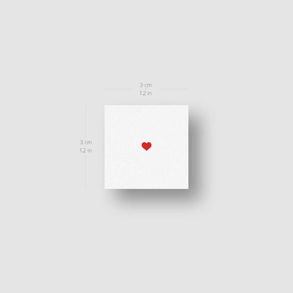 Tiny Red Heart Temporary Tattoo - Set of 3