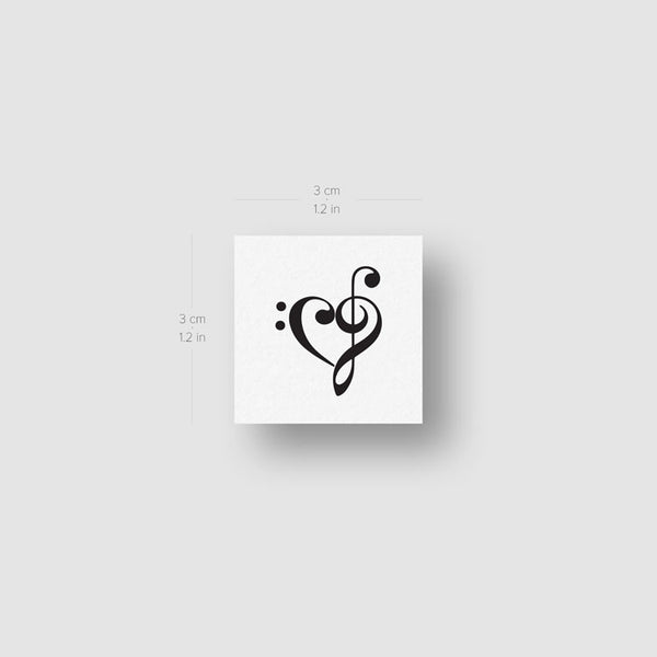 Small Music Heart Temporary Tattoo - Set of 3