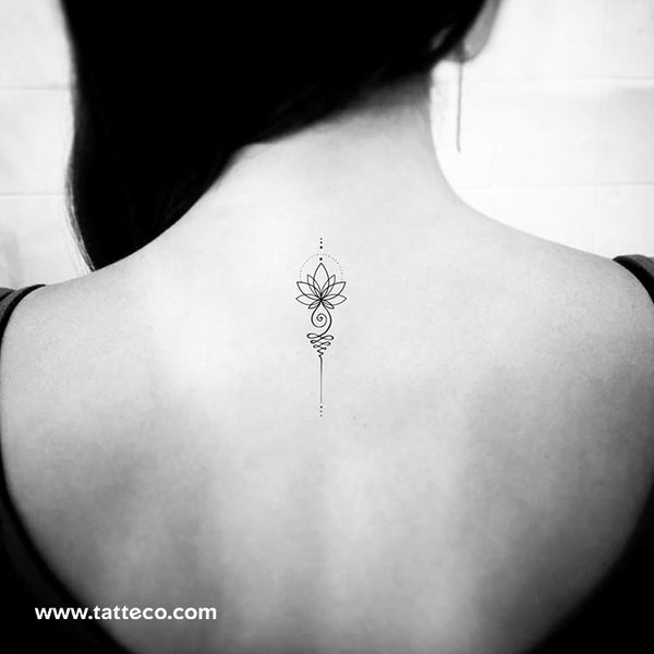 Unalome Lotus Temporary Tattoo - Set of 3