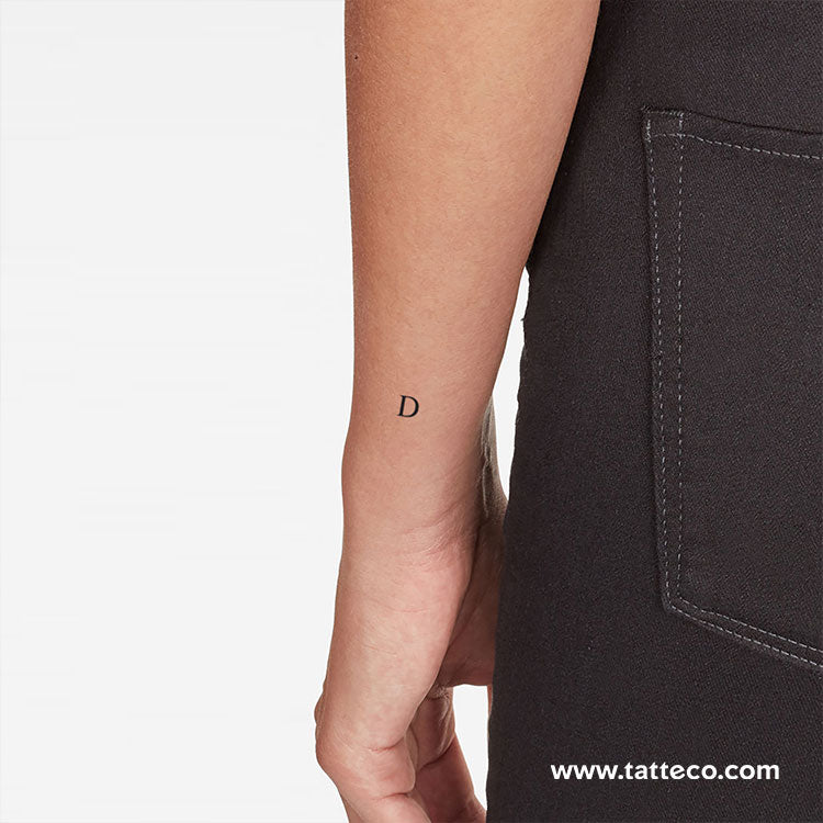 D Serif Capital Letter Temporary Tattoo - Set of 3