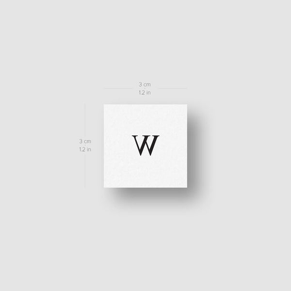 W Serif Capital Letter Temporary Tattoo - Set of 3
