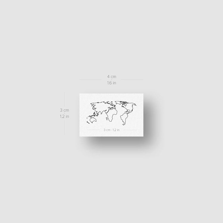 Small World Map Tattoo Temporary Tattoo - Set of 3