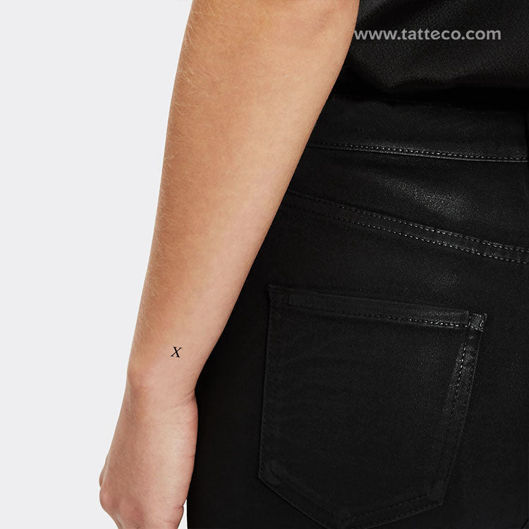 X Serif Capital Letter Temporary Tattoo (Set of 3)